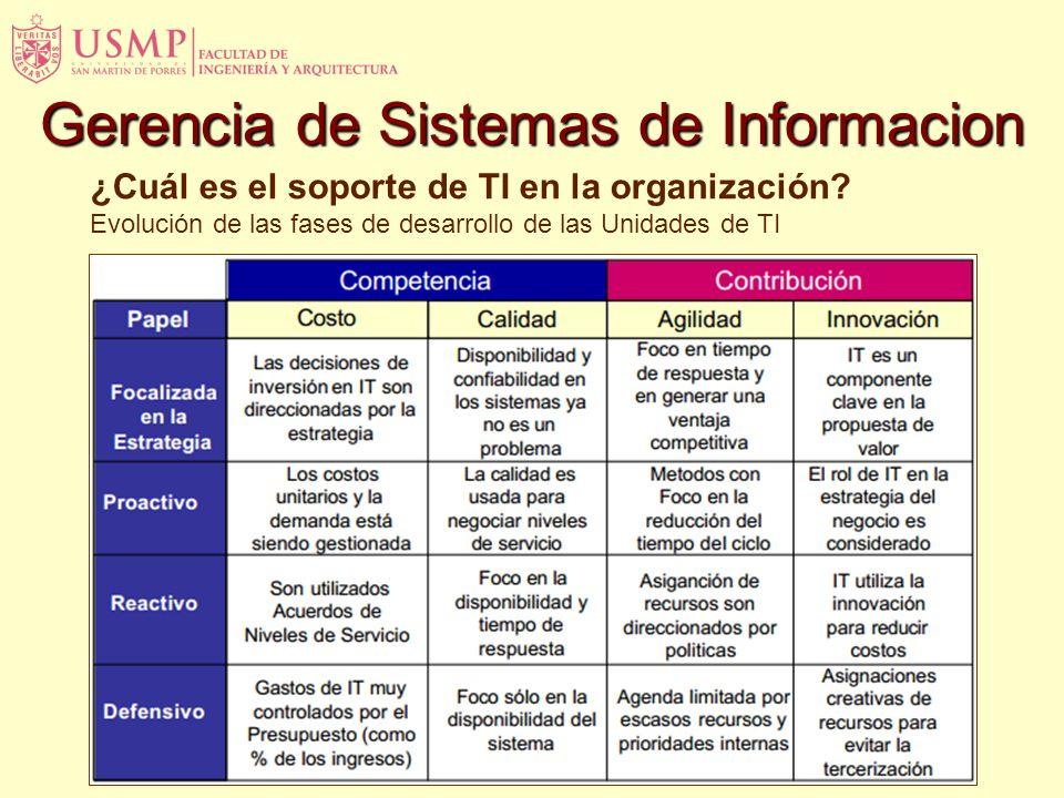 ¿Cuál es el soporte de TI en la organización? Evolución de las fases de desarrollo de las Unidades de TI Gerencia de Sistemas de Informacion