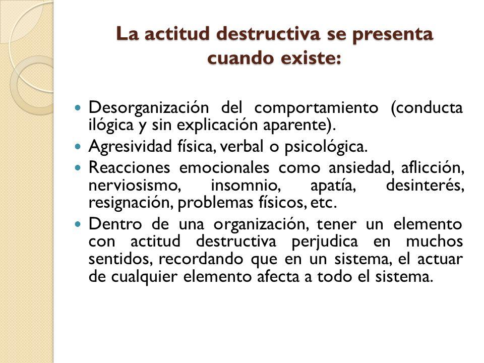 La actitud destructiva se presenta cuando existe: Desorganización del comportamiento (conducta ilógica y sin explicación aparente). Agresividad física
