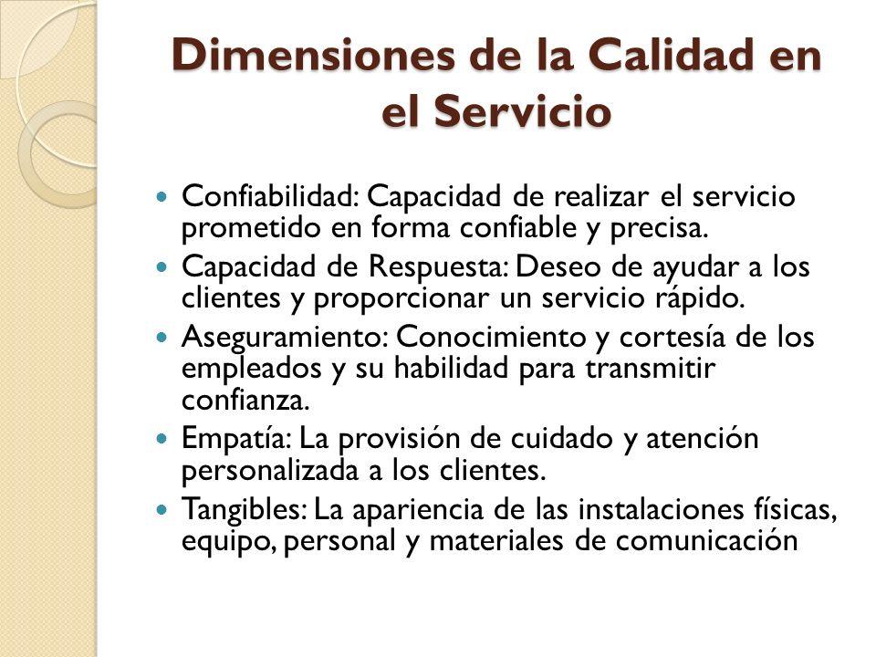 Dimensiones de la Calidad en el Servicio Confiabilidad: Capacidad de realizar el servicio prometido en forma confiable y precisa. Capacidad de Respues