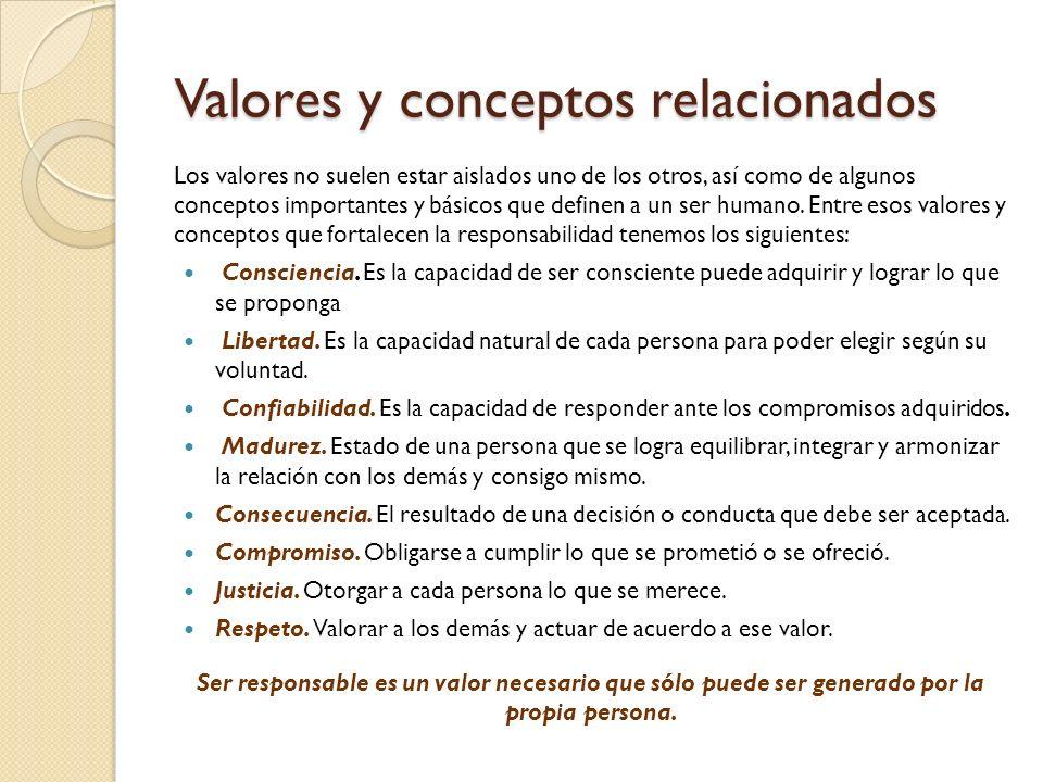 Valores y conceptos relacionados Los valores no suelen estar aislados uno de los otros, así como de algunos conceptos importantes y básicos que define