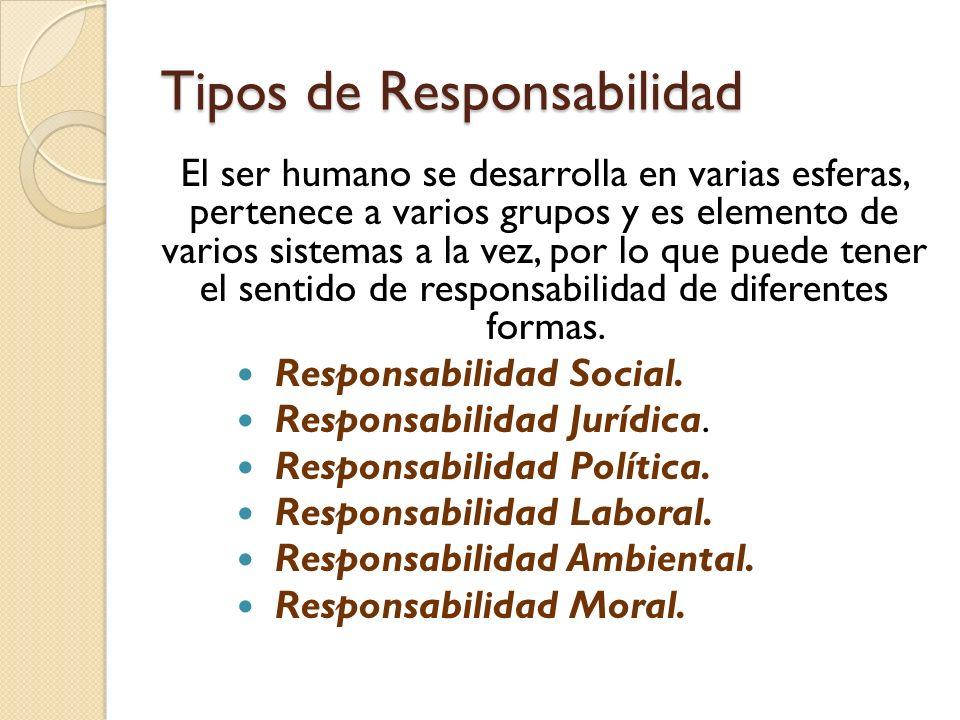 Tipos de Responsabilidad El ser humano se desarrolla en varias esferas, pertenece a varios grupos y es elemento de varios sistemas a la vez, por lo que puede tener el sentido de responsabilidad de diferentes formas.