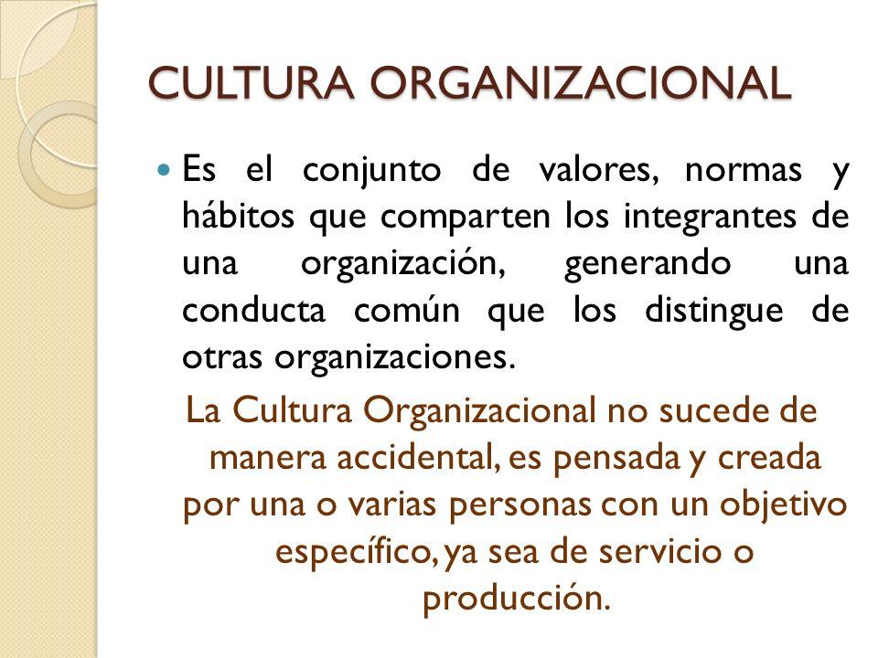 CULTURA ORGANIZACIONAL Es el conjunto de valores, normas y hábitos que comparten los integrantes de una organización, generando una conducta común que los distingue de otras organizaciones.