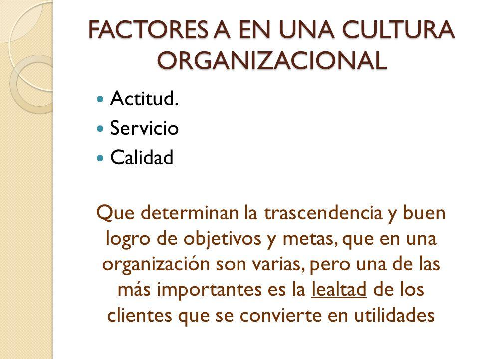 FACTORES A EN UNA CULTURA ORGANIZACIONAL Actitud. Servicio Calidad Que determinan la trascendencia y buen logro de objetivos y metas, que en una organ