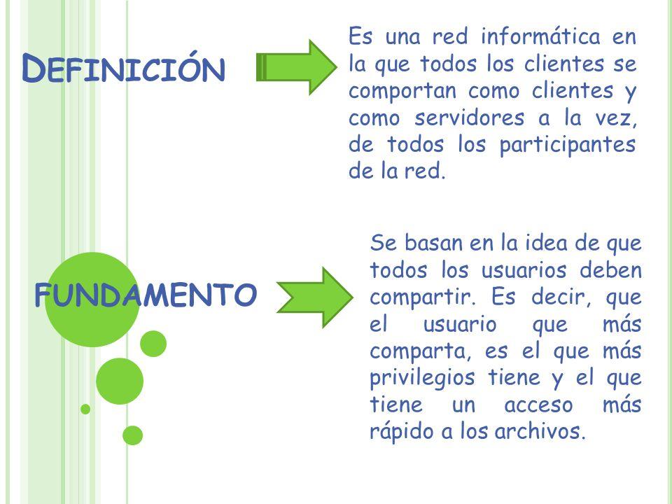 D EFINICIÓN Es una red informática en la que todos los clientes se comportan como clientes y como servidores a la vez, de todos los participantes de l