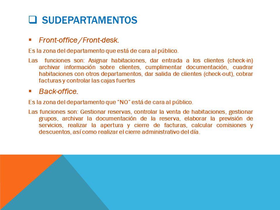 SUDEPARTAMENTOS Front-office /Front-desk.Es la zona del departamento que está de cara al público.