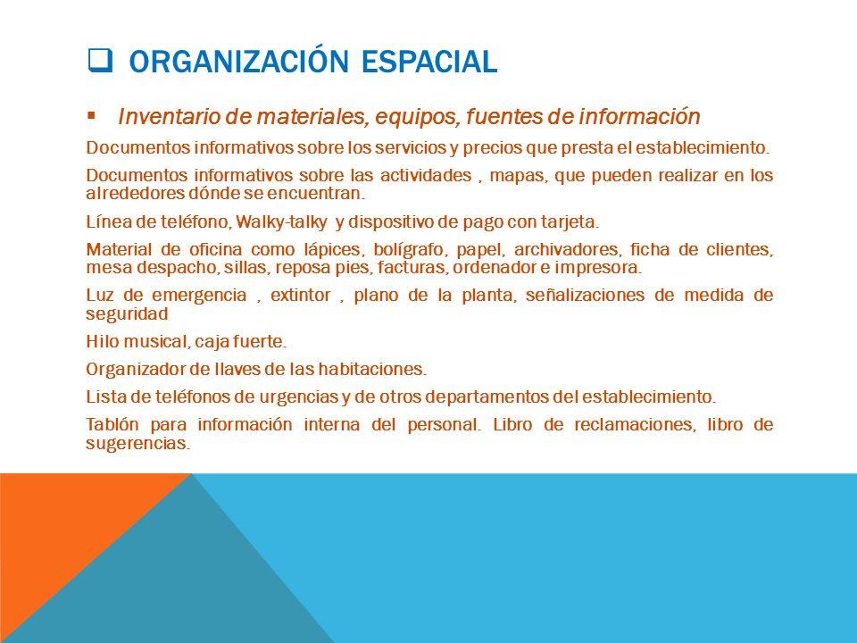 ORGANIZACIÓN ESPACIAL Inventario de materiales, equipos, fuentes de información Documentos informativos sobre los servicios y precios que presta el establecimiento.