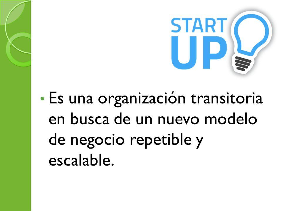 Es una organización transitoria en busca de un nuevo modelo de negocio repetible y escalable.