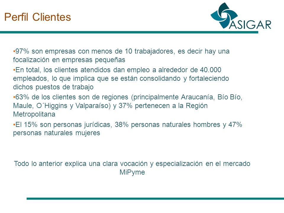 Perfil Clientes 97% son empresas con menos de 10 trabajadores, es decir hay una focalización en empresas pequeñas En total, los clientes atendidos dan