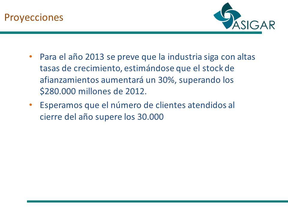Proyecciones Para el año 2013 se preve que la industria siga con altas tasas de crecimiento, estimándose que el stock de afianzamientos aumentará un 3