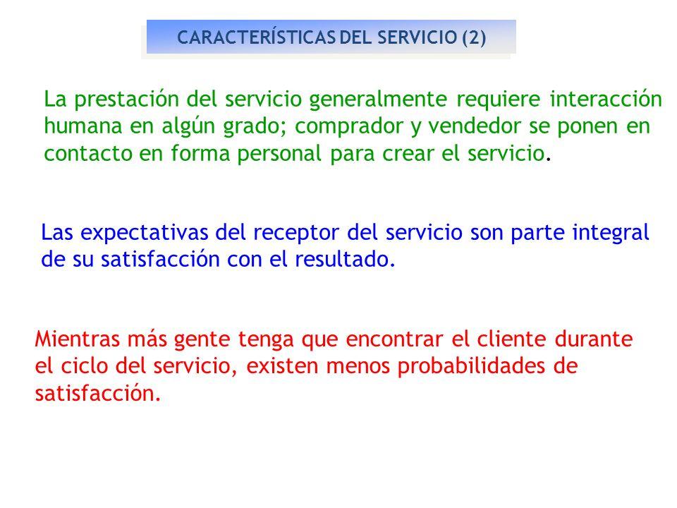 CARACTERÍSTICAS DEL SERVICIO (2) La prestación del servicio generalmente requiere interacción humana en algún grado; comprador y vendedor se ponen en