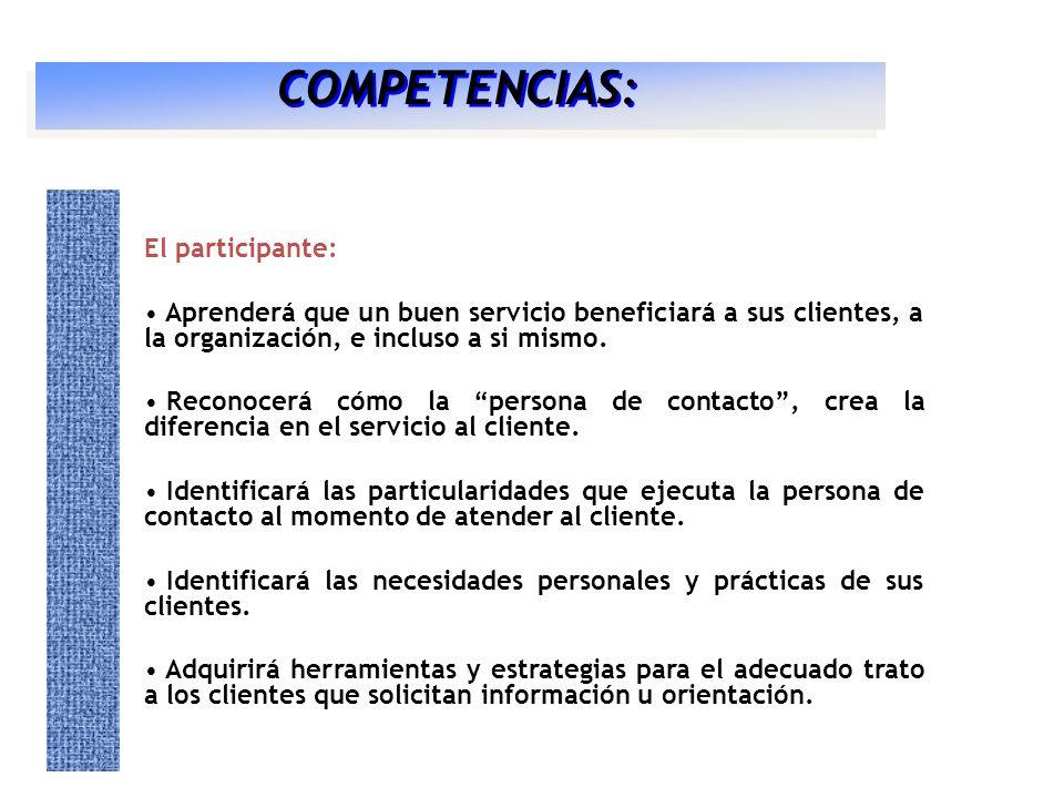 El participante: Aprenderá que un buen servicio beneficiará a sus clientes, a la organización, e incluso a si mismo. Reconocerá cómo la persona de con