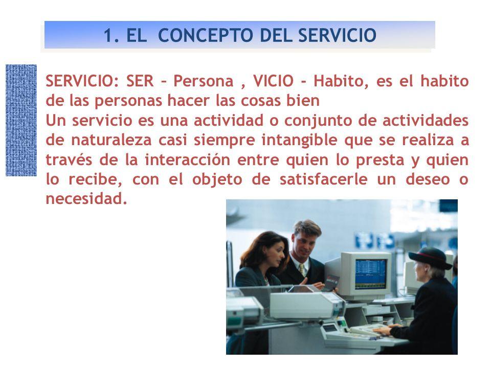 1. EL CONCEPTO DEL SERVICIO SERVICIO: SER – Persona, VICIO - Habito, es el habito de las personas hacer las cosas bien Un servicio es una actividad o
