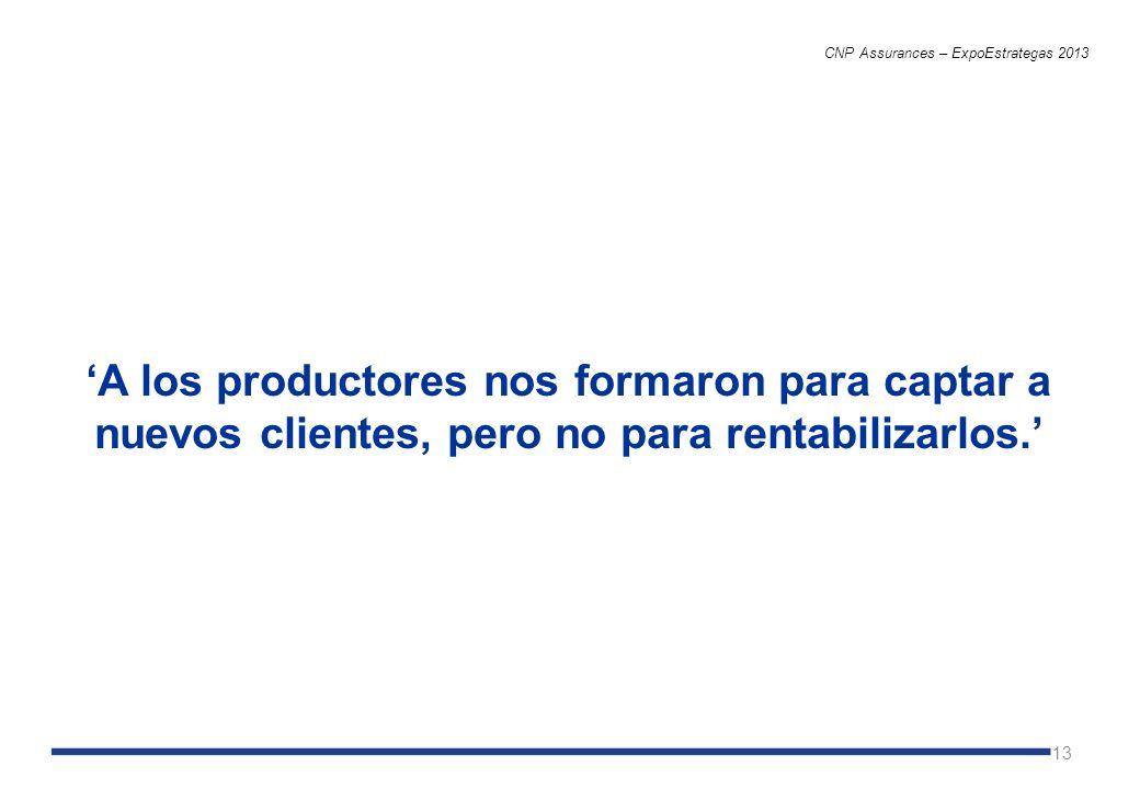 13 A los productores nos formaron para captar a nuevos clientes, pero no para rentabilizarlos. CNP Assurances – ExpoEstrategas 2013