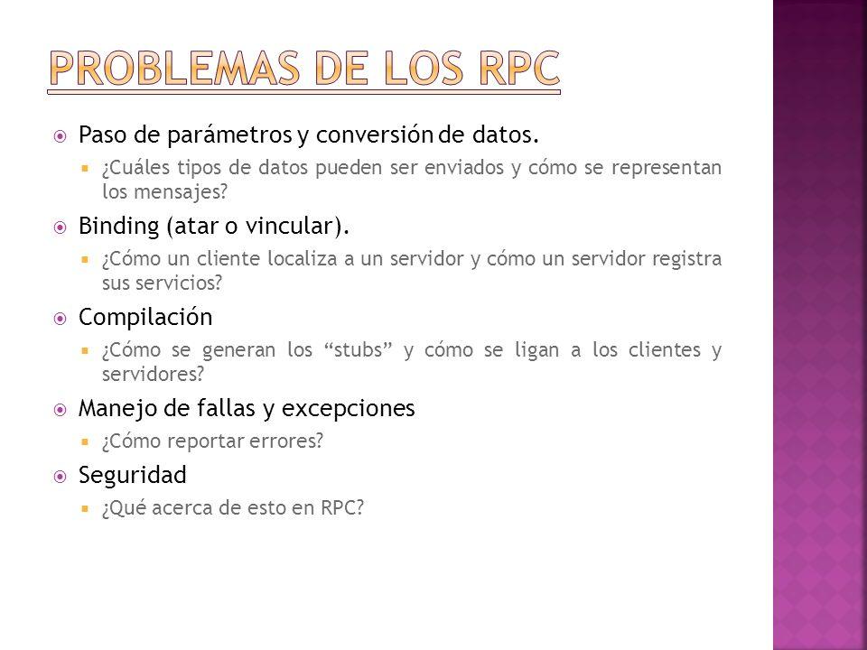 El manejo de parámetros incluye el paso y la conversión de datos en mensajes: esto es trabajo del stub.