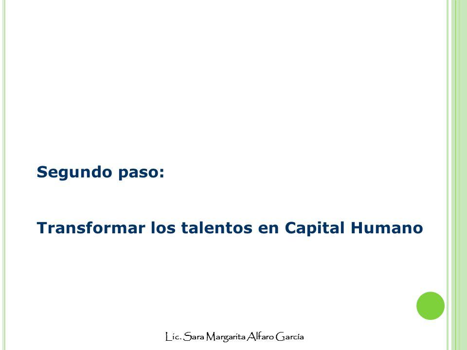 Lic. Sara Margarita Alfaro García Segundo paso: Transformar los talentos en Capital Humano