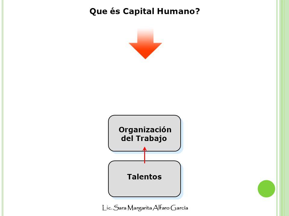 Lic. Sara Margarita Alfaro García Que és Capital Humano? Talentos Organización del Trabajo