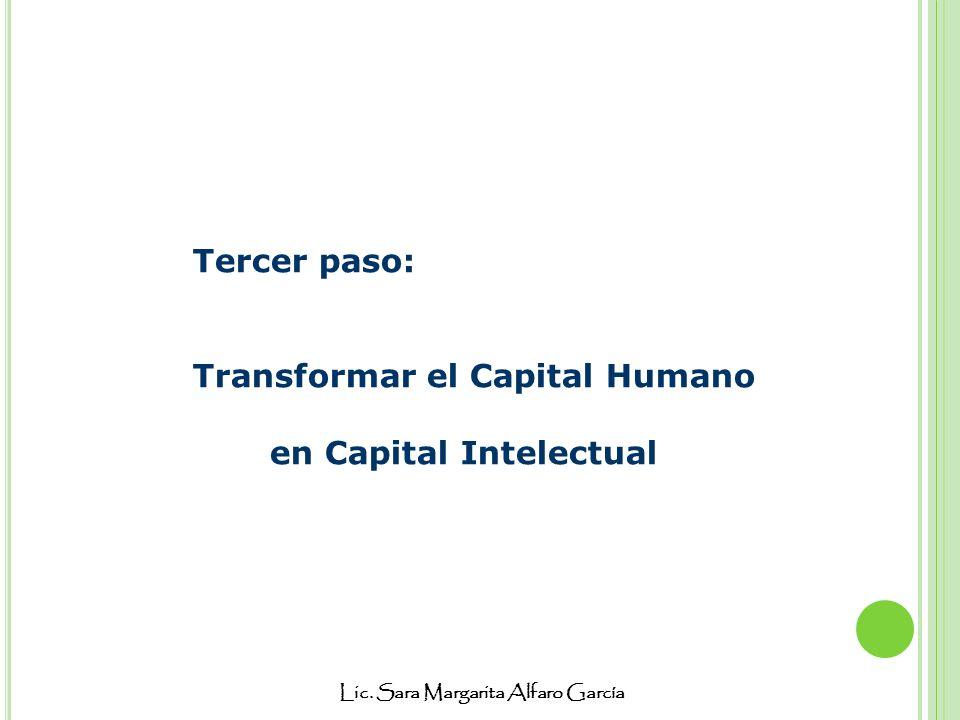 Lic. Sara Margarita Alfaro García Tercer paso: Transformar el Capital Humano en Capital Intelectual