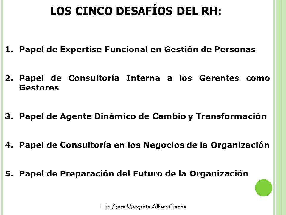 Lic. Sara Margarita Alfaro García LOS CINCO DESAFÍOS DEL RH: 1.Papel de Expertise Funcional en Gestión de Personas 2.Papel de Consultoría Interna a lo
