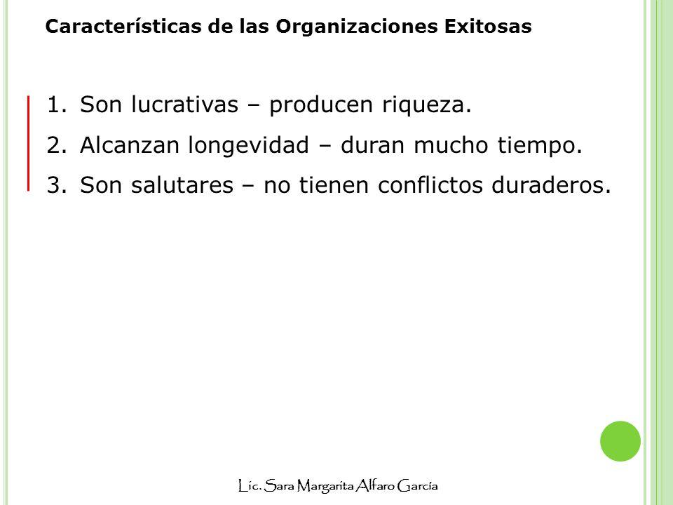 Lic. Sara Margarita Alfaro García Características de las Organizaciones Exitosas 1.Son lucrativas – producen riqueza. 2.Alcanzan longevidad – duran mu