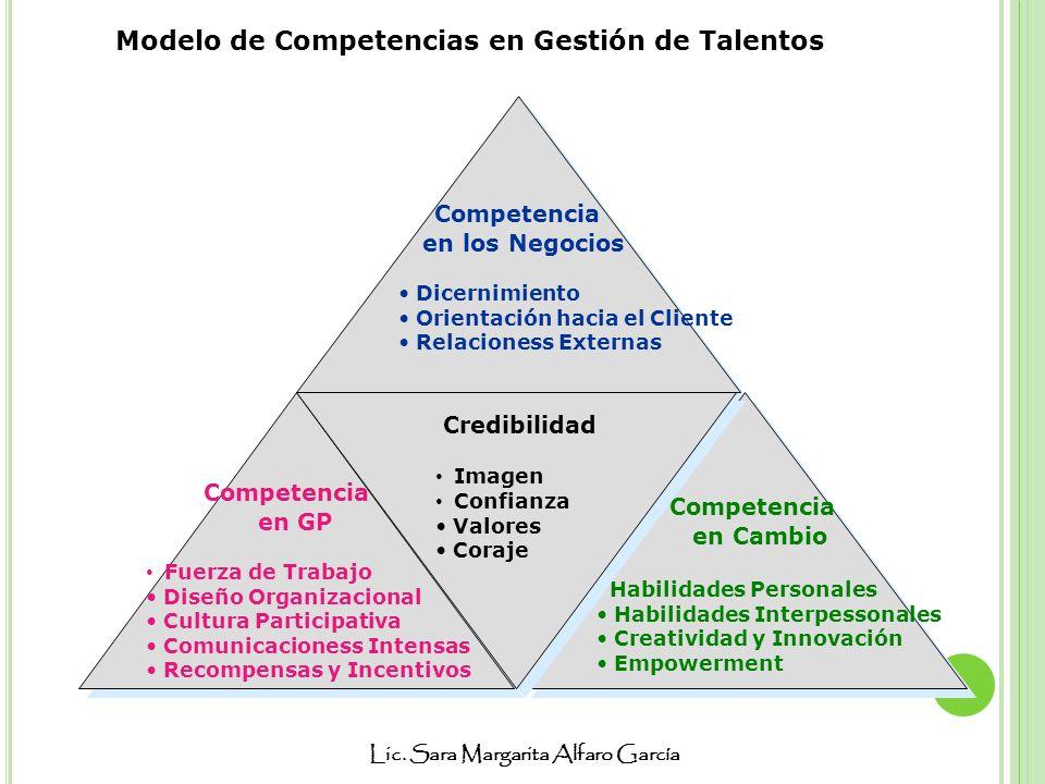 Lic. Sara Margarita Alfaro García Competencia en los Negocios Dicernimiento Orientación hacia el Cliente Relacioness Externas Competencia en GP Fuerza