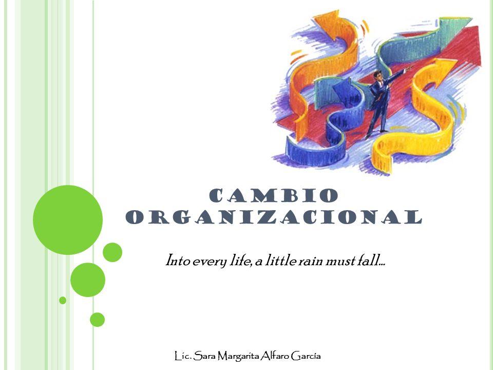 CAMBIO ORGANIZACIONAL Lic. Sara Margarita Alfaro García Into every life, a little rain must fall…