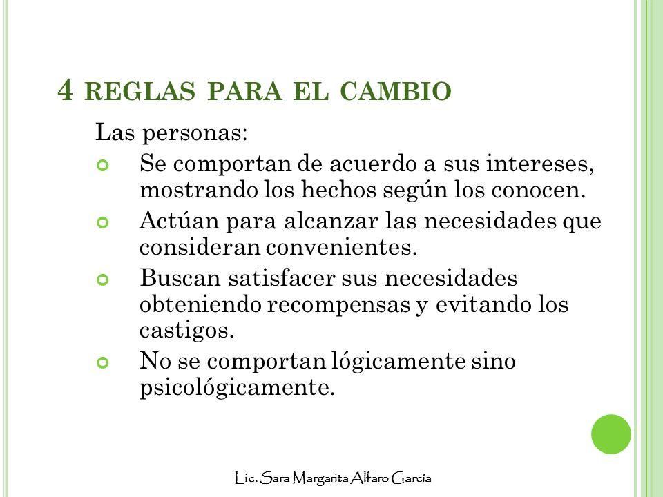 Lic. Sara Margarita Alfaro García 4 REGLAS PARA EL CAMBIO Las personas: Se comportan de acuerdo a sus intereses, mostrando los hechos según los conoce