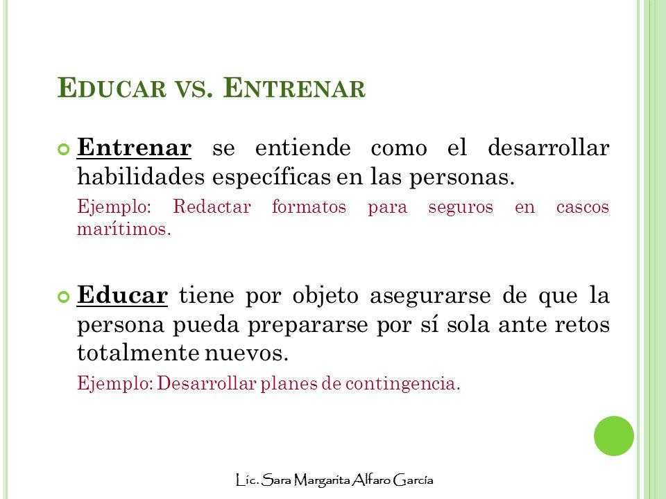 Lic. Sara Margarita Alfaro García E DUCAR VS. E NTRENAR Entrenar se entiende como el desarrollar habilidades específicas en las personas. Ejemplo: Red