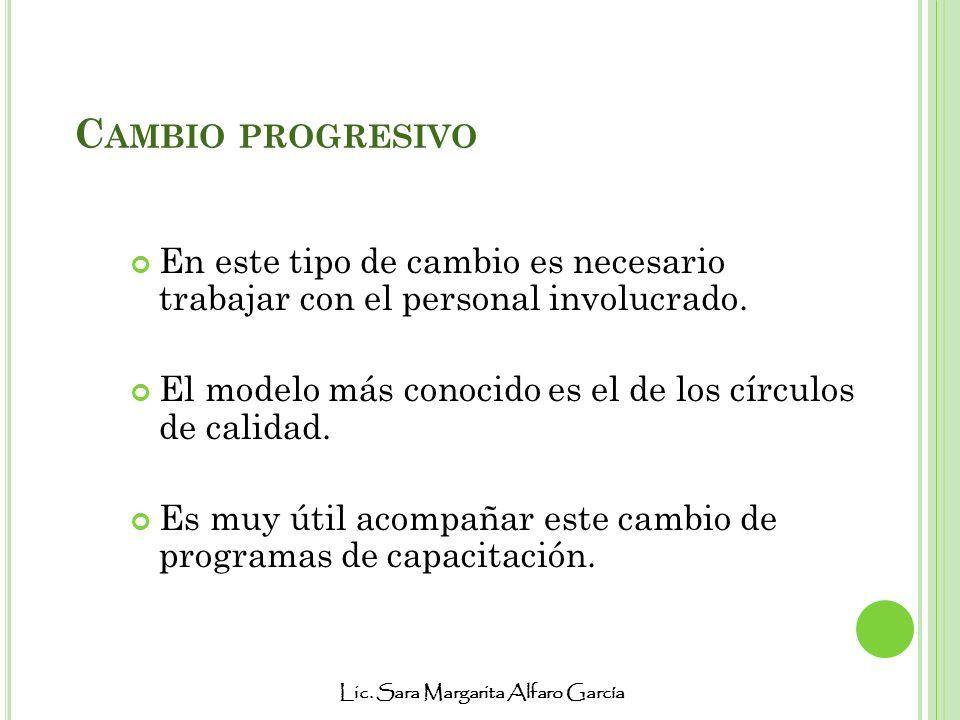 Lic. Sara Margarita Alfaro García C AMBIO PROGRESIVO En este tipo de cambio es necesario trabajar con el personal involucrado. El modelo más conocido