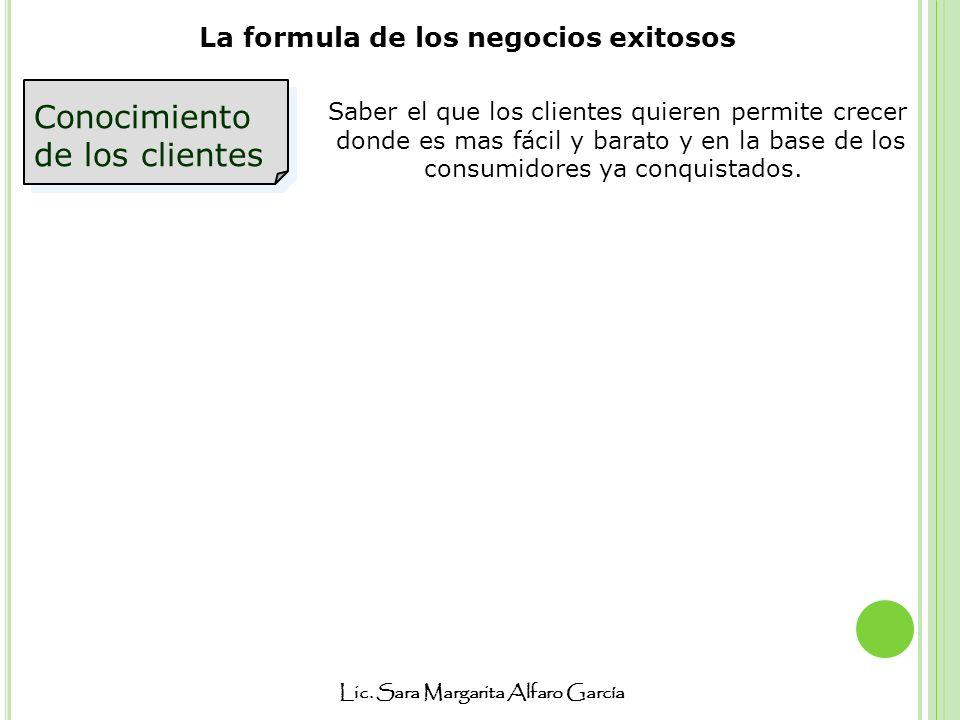 Lic. Sara Margarita Alfaro García La formula de los negocios exitosos Conocimiento de los clientes Saber el que los clientes quieren permite crecer do