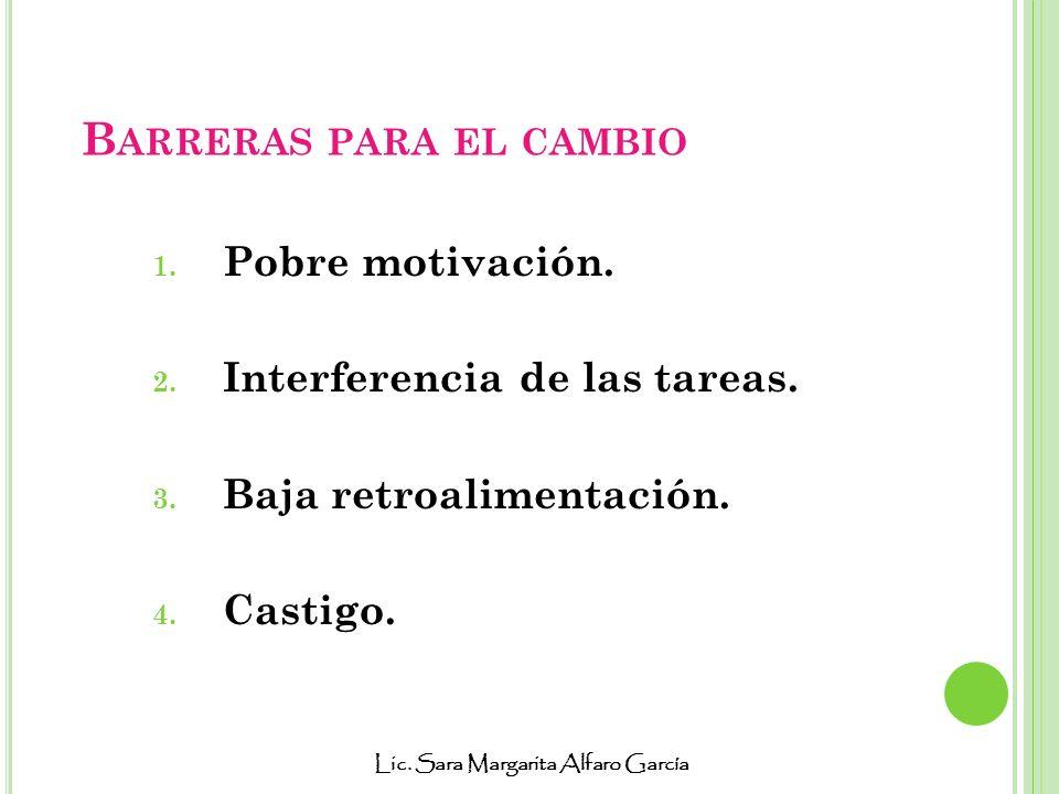 Lic. Sara Margarita Alfaro García B ARRERAS PARA EL CAMBIO 1. Pobre motivación. 2. Interferencia de las tareas. 3. Baja retroalimentación. 4. Castigo.