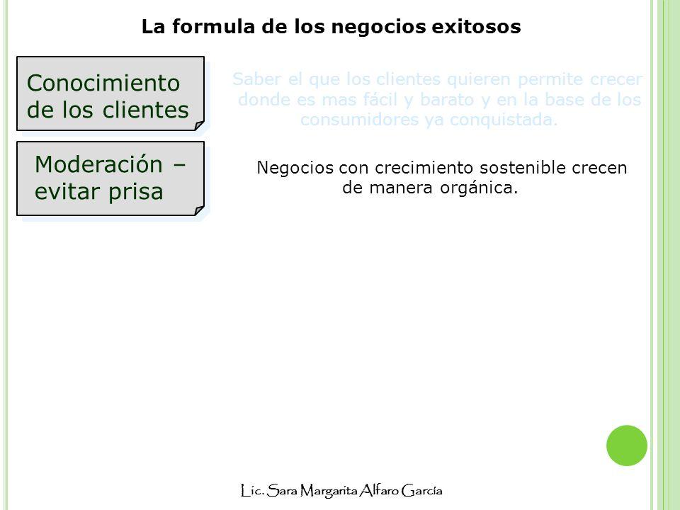 Lic. Sara Margarita Alfaro García La formula de los negocios exitosos Conocimiento de los clientes Moderación – evitar prisa Saber el que los clientes