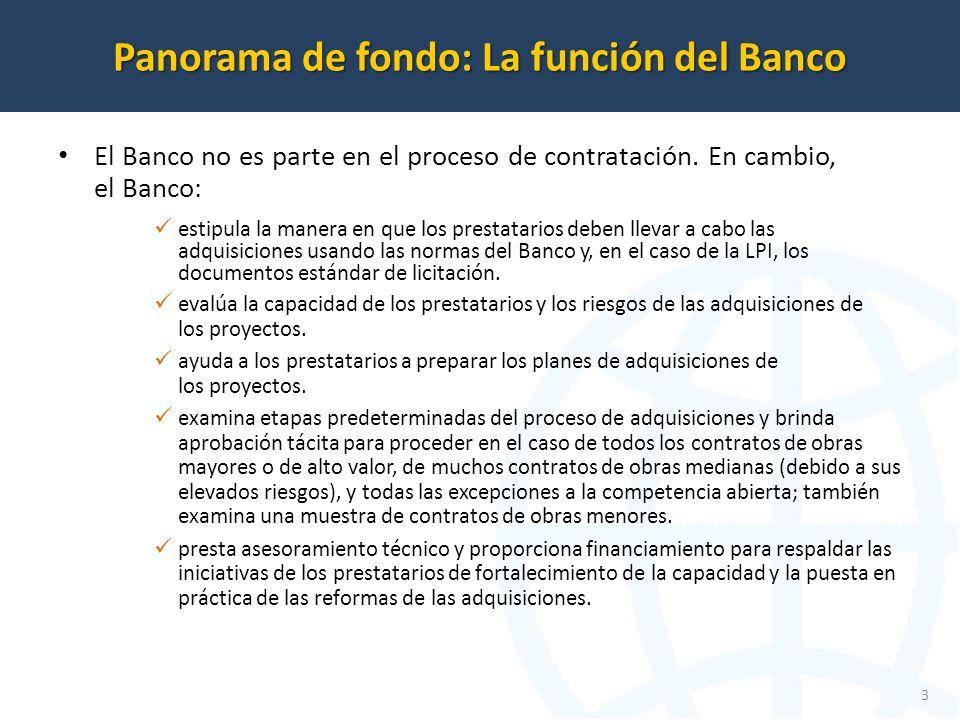 El Banco no es parte en el proceso de contratación.