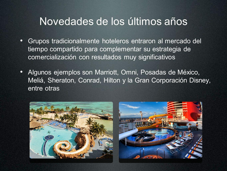Novedades de los últimos años Grupos tradicionalmente hoteleros entraron al mercado del tiempo compartido para complementar su estrategia de comercial