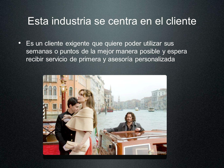 Esta industria se centra en el cliente Es un cliente exigente que quiere poder utilizar sus semanas o puntos de la mejor manera posible y espera recib