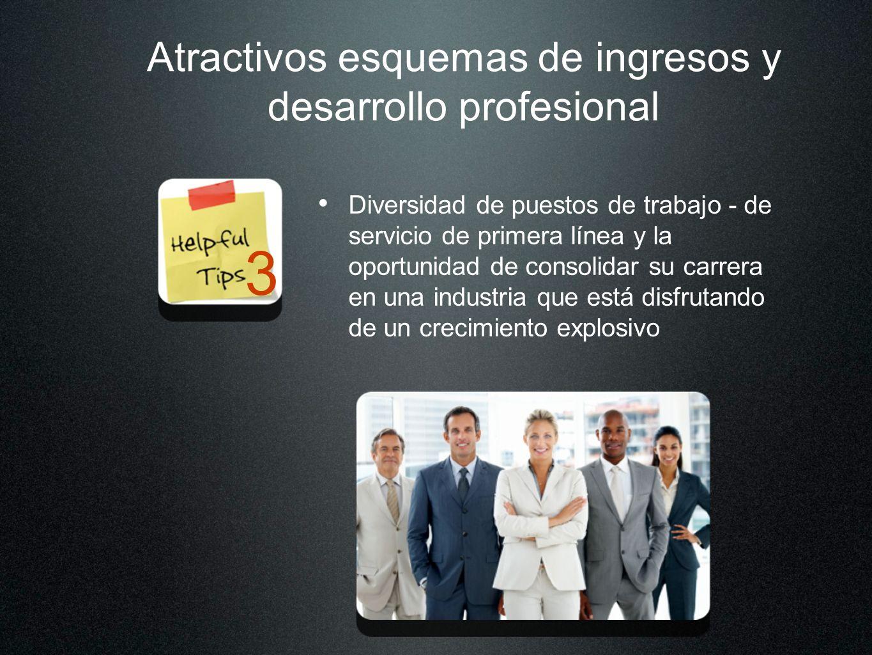 Atractivos esquemas de ingresos y desarrollo profesional Diversidad de puestos de trabajo - de servicio de primera línea y la oportunidad de consolida