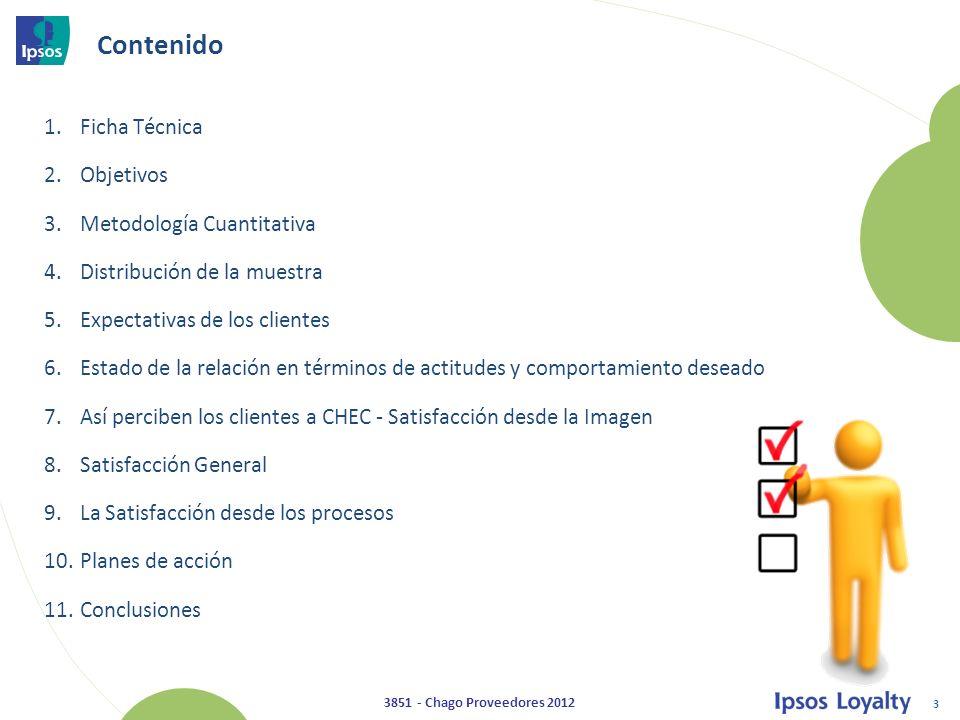 54 3851 - Chago Proveedores 2012 Satisfacción de la información directa recibida de la CHEC (Carta o Correo) Evolución 1.