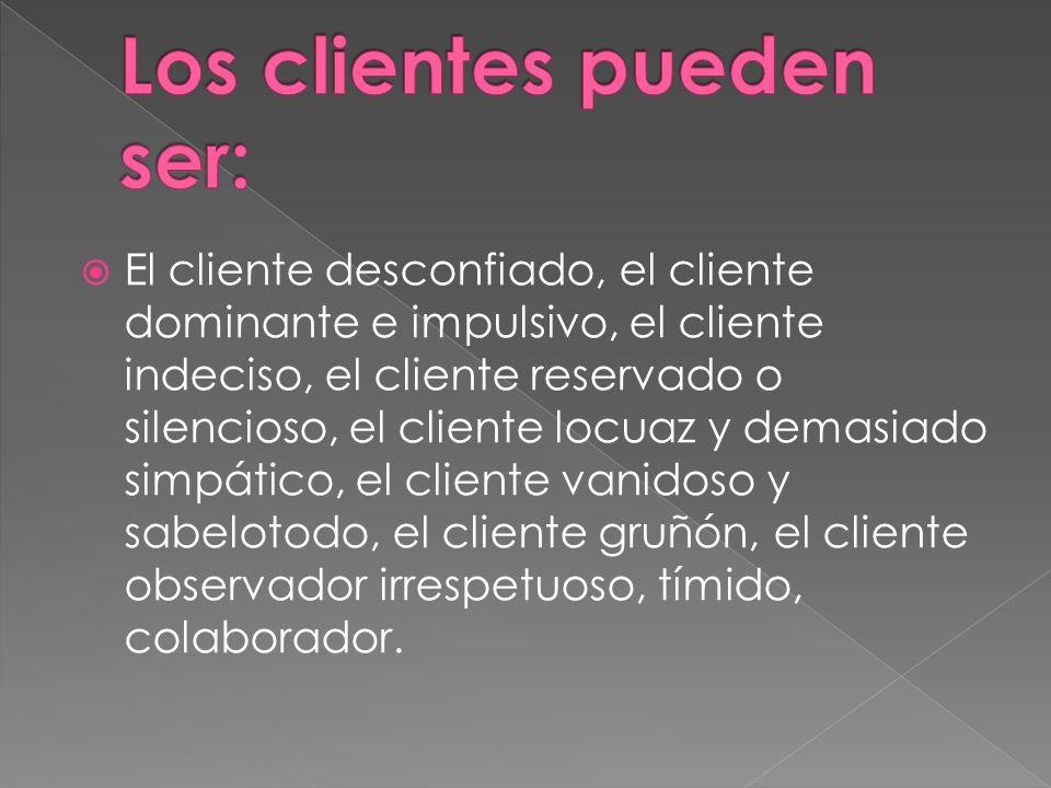 El cliente desconfiado, el cliente dominante e impulsivo, el cliente indeciso, el cliente reservado o silencioso, el cliente locuaz y demasiado simpát