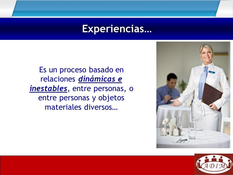 Es un proceso basado en relaciones dinámicas e inestables, entre personas, o entre personas y objetos materiales diversos… Experiencias…