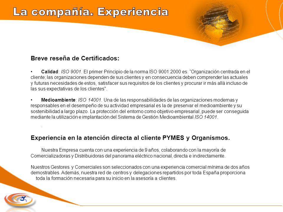 Breve reseña de Certificados: Calidad: ISO 9001. El primer Principio de la norma ISO 9001:2000 es: Organización centrada en el cliente; las organizaci
