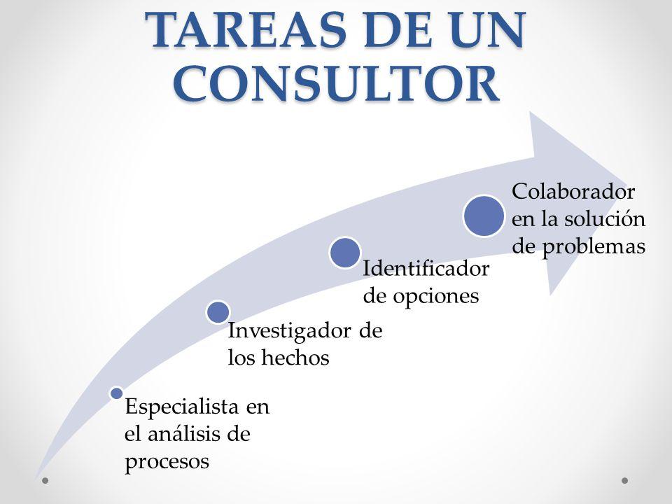 TAREAS DE UN CONSULTOR Especialista en el análisis de procesos Investigador de los hechos Identificador de opciones Colaborador en la solución de prob