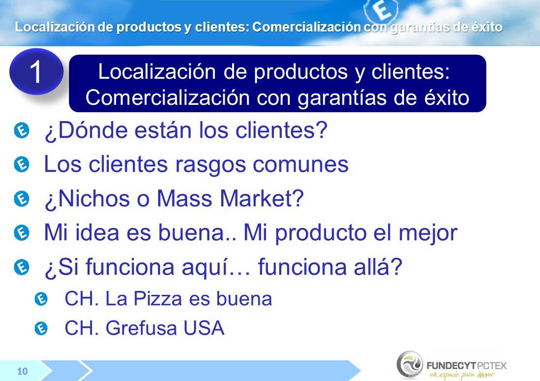 10 Localización de productos y clientes: Comercialización con garantías de éxito ¿Dónde están los clientes.