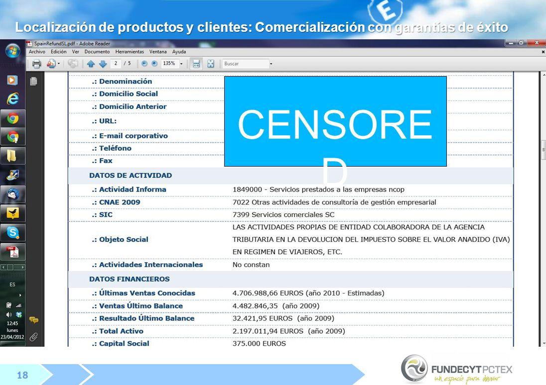 18 CENSORE D Localización de productos y clientes: Comercialización con garantías de éxito