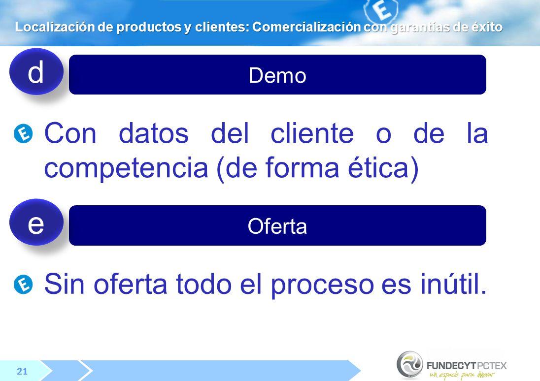 21 Demo Con datos del cliente o de la competencia (de forma ética) d d Oferta Sin oferta todo el proceso es inútil.
