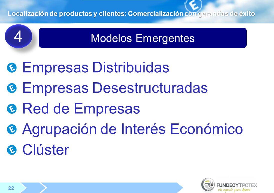 22 Modelos Emergentes Empresas Distribuidas Empresas Desestructuradas Red de Empresas Agrupación de Interés Económico Clúster 4 4 Localización de productos y clientes: Comercialización con garantías de éxito