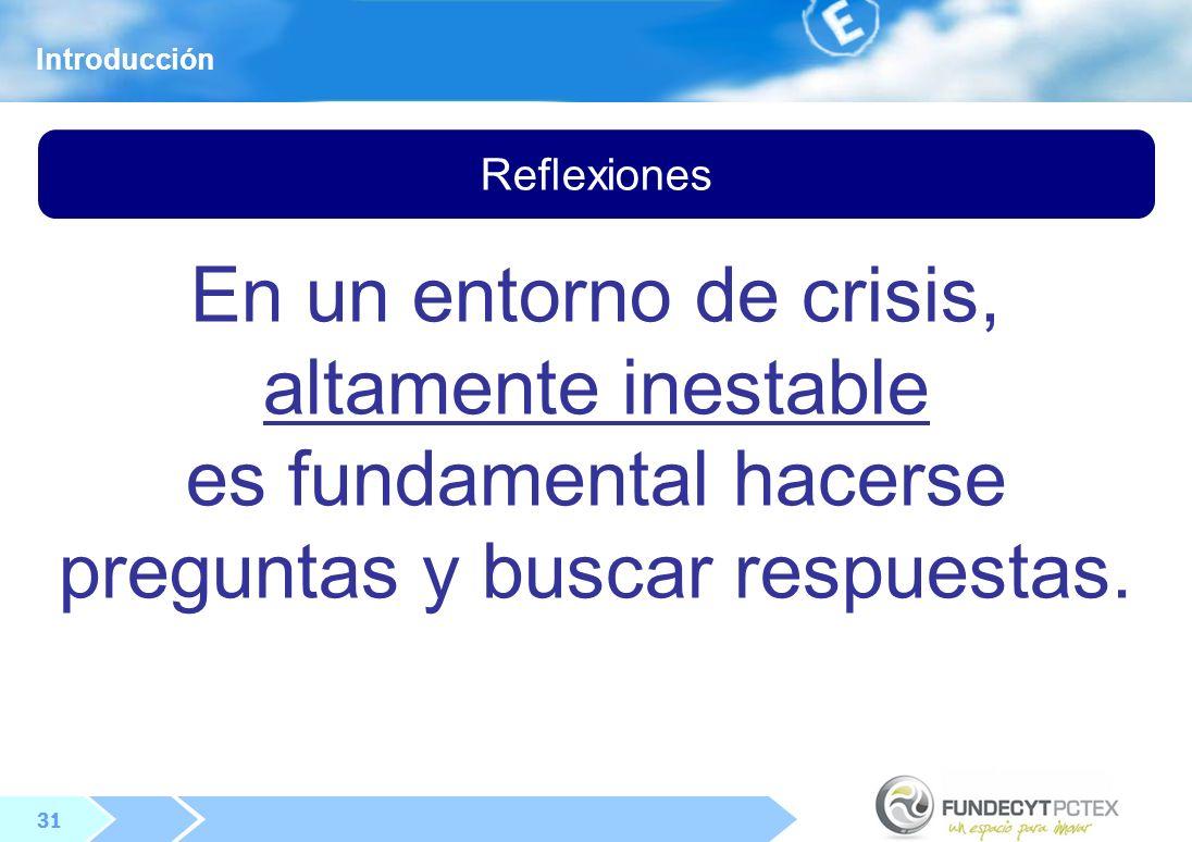 31 Reflexiones En un entorno de crisis, altamente inestable es fundamental hacerse preguntas y buscar respuestas.