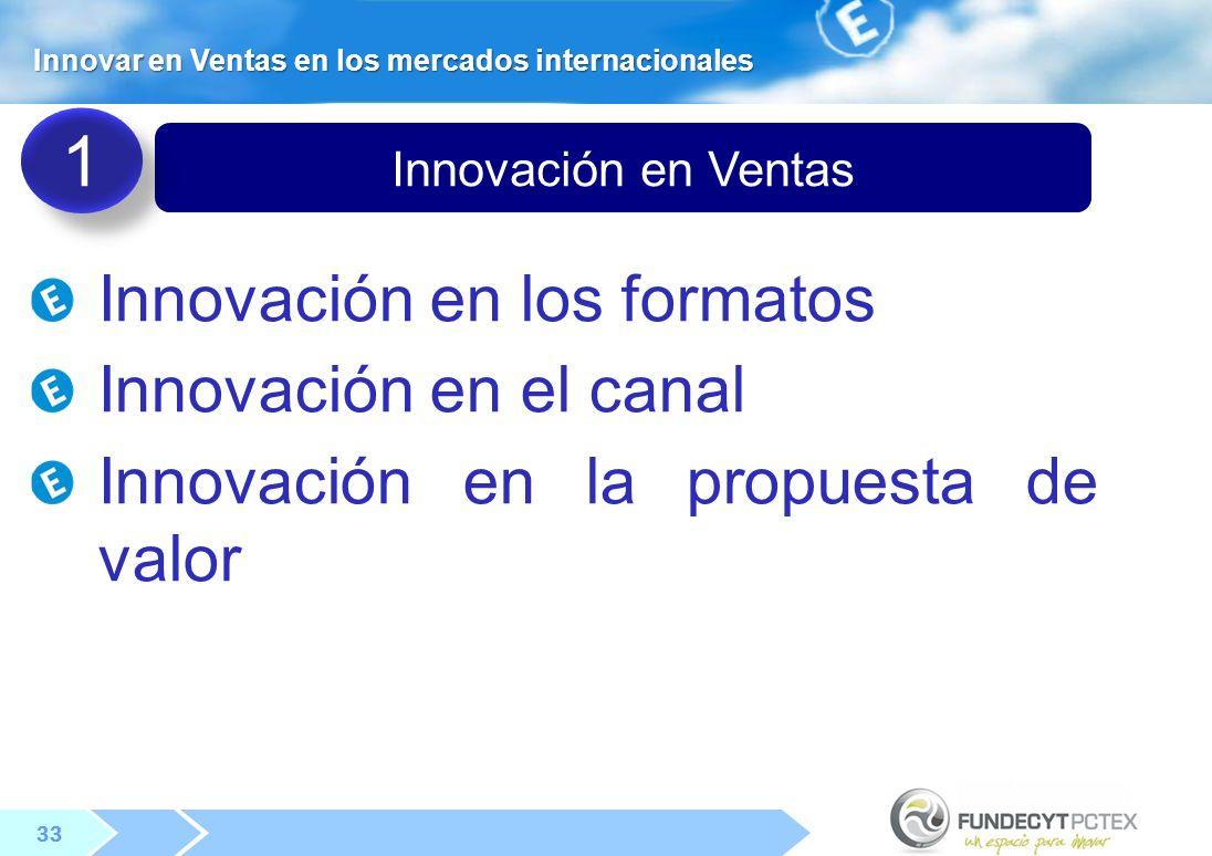 33 Innovación en Ventas Innovar en Ventas en los mercados internacionales Innovación en los formatos Innovación en el canal Innovación en la propuesta de valor 1 1