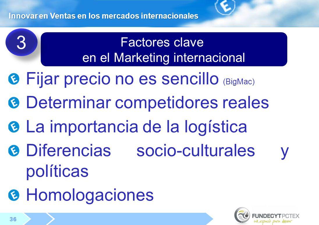 36 Factores clave en el Marketing internacional Fijar precio no es sencillo (BigMac) Determinar competidores reales La importancia de la logística Diferencias socio-culturales y políticas Homologaciones 3 3 Innovar en Ventas en los mercados internacionales