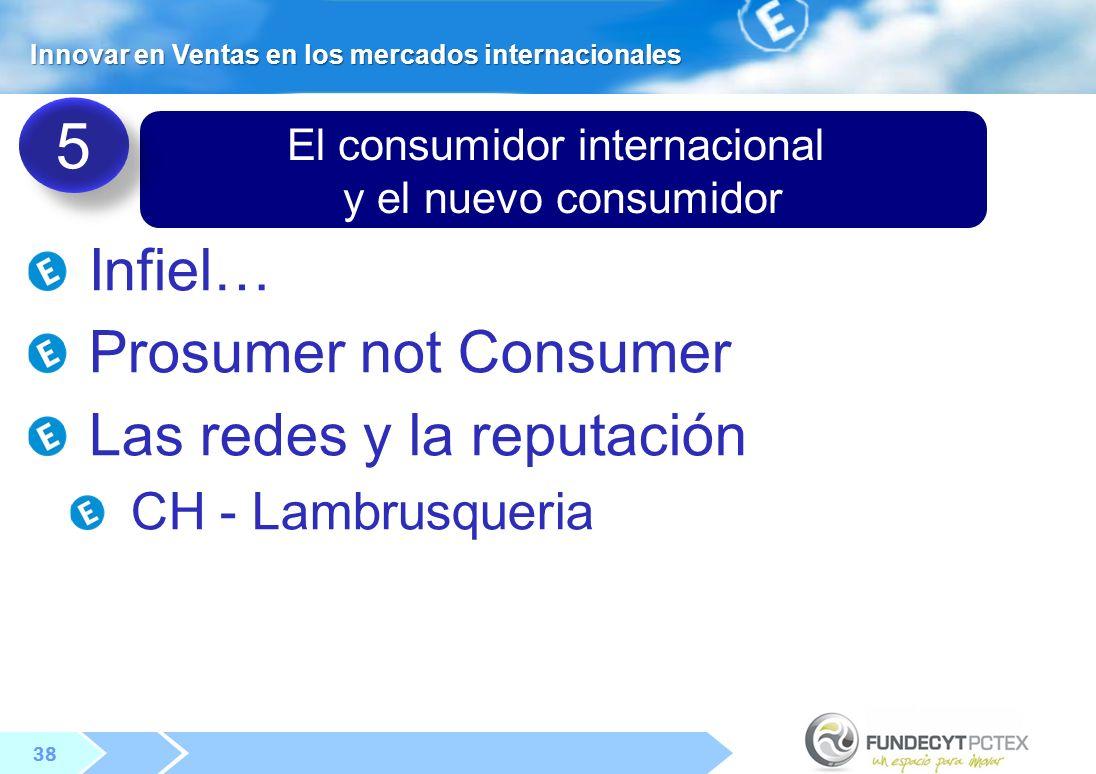38 El consumidor internacional y el nuevo consumidor Infiel… Prosumer not Consumer Las redes y la reputación CH - Lambrusqueria 5 5 Innovar en Ventas en los mercados internacionales