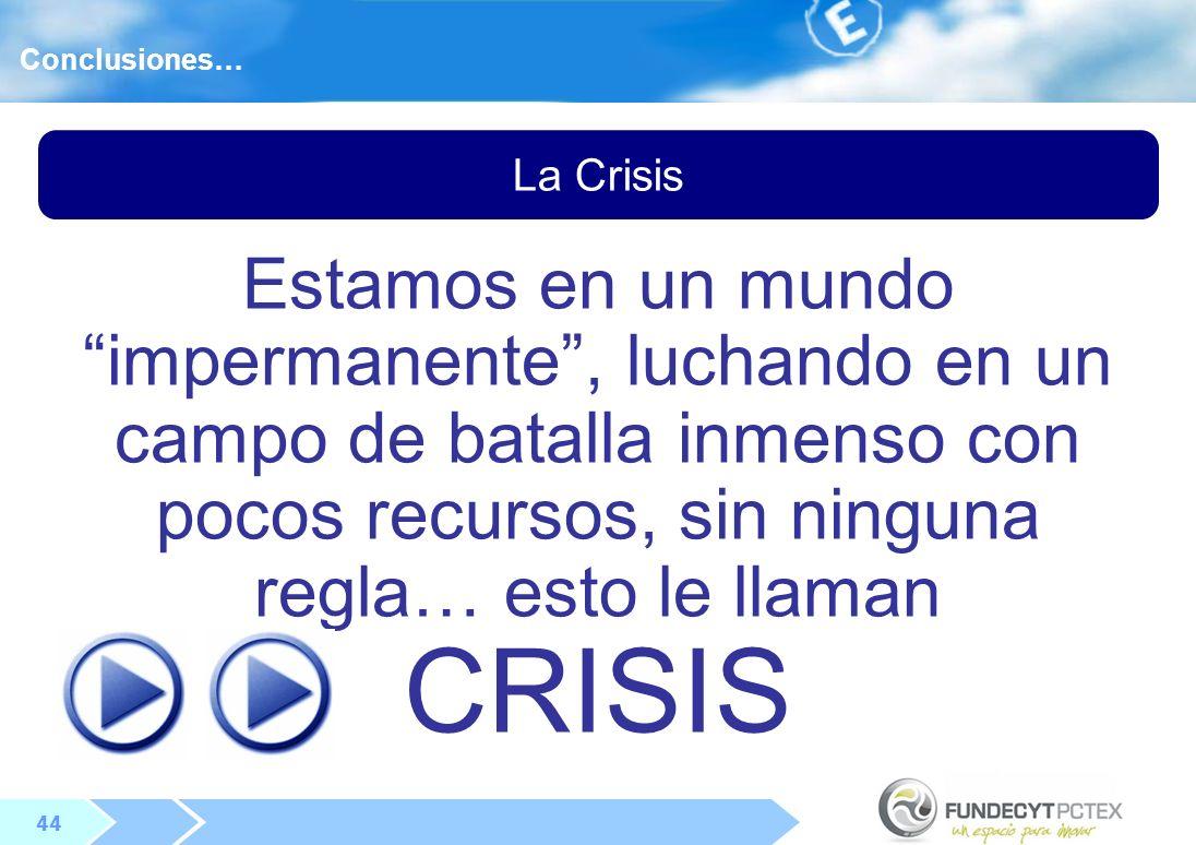 44 La Crisis Conclusiones… Estamos en un mundo impermanente, luchando en un campo de batalla inmenso con pocos recursos, sin ninguna regla… esto le llaman CRISIS