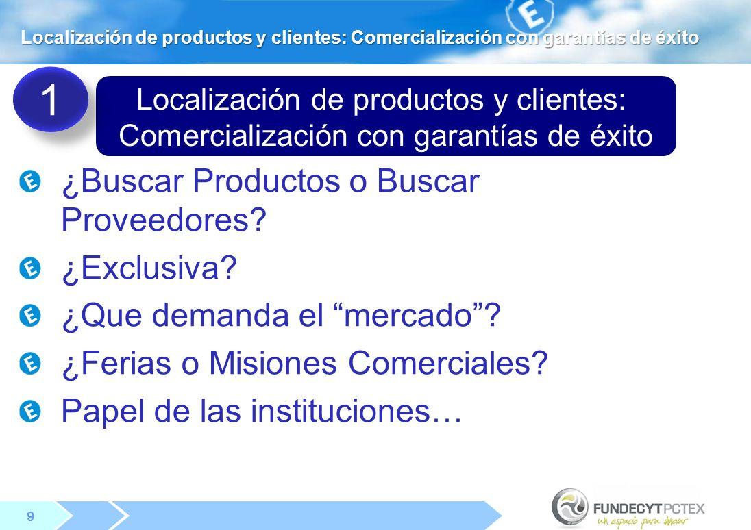 9 9 Localización de productos y clientes: Comercialización con garantías de éxito Localización de productos y clientes: Comercialización con garantías de éxito ¿Buscar Productos o Buscar Proveedores.